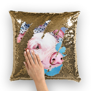 pig-01-pillows Sequin Cushion Cover