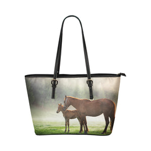 Horse 09 Leather Tote Bag/Small (Model 1651)