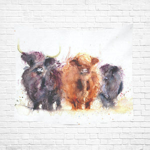 "cow 14 Cotton Linen Wall Tapestry 60""x 51"""