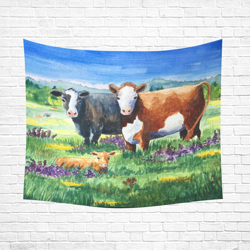 cow 01 Cotton Linen Wall Tapestry 60