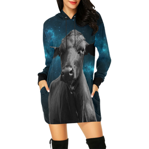 Women's Hoodie Dress - cow 05
