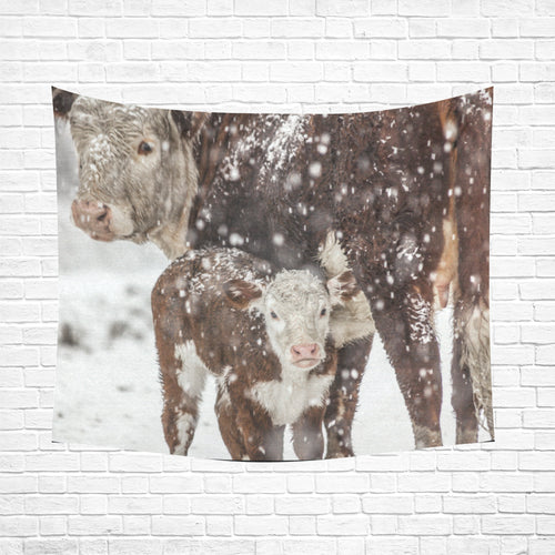 cow 28 Cotton Linen Wall Tapestry 60