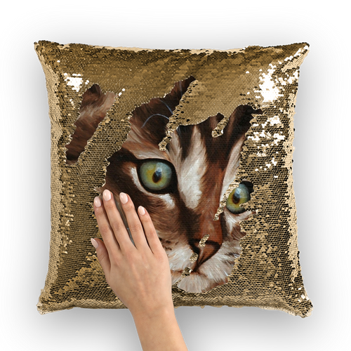 cat painting 03 Sequin Cushion Cover