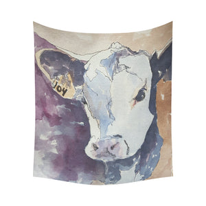 "cow 06 Cotton Linen Wall Tapestry 60""x 51"""