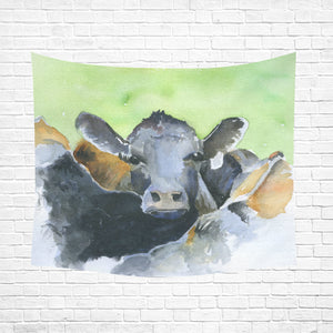 "cow 08 Cotton Linen Wall Tapestry 60""x 51"""
