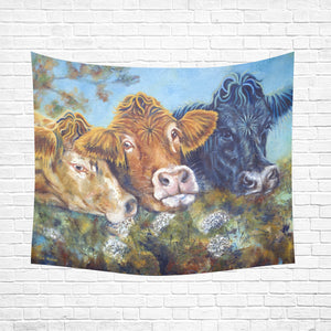 "cow 02 Cotton Linen Wall Tapestry 60""x 51"""