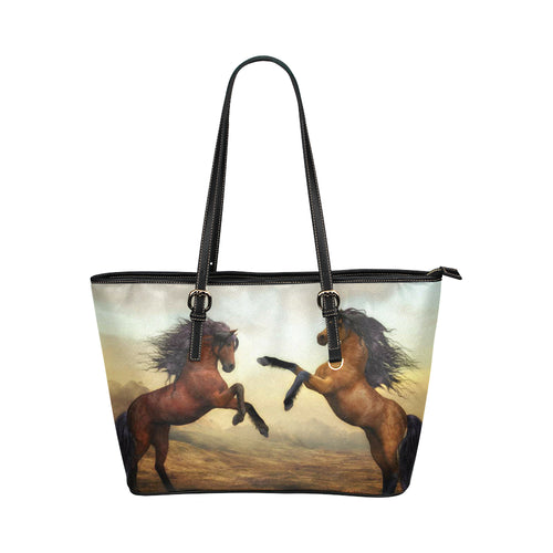 Horse 04 Leather Tote Bag/Small (Model 1651)