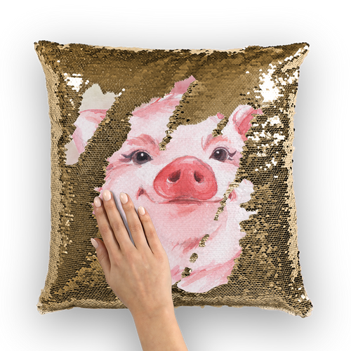 pig-02-pillows Sequin Cushion Cover
