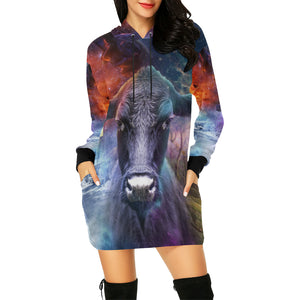 Cow fantasy - All Over Print Hoodie Mini Dress (Model H27)