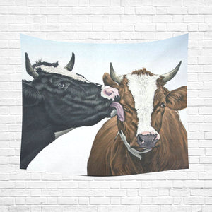 "cow 09 Cotton Linen Wall Tapestry 60""x 51"""