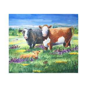 "cow 01 Cotton Linen Wall Tapestry 60""x 51"""