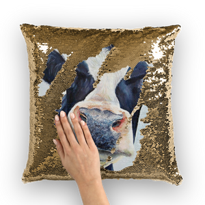 cow-02 Sequin Cushion Cover