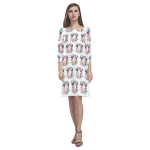 cow Rhea Loose Round Neck Dress(Model D22)