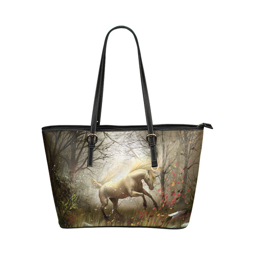 Horse 07 Leather Tote Bag/Small (Model 1651)