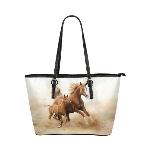 Horse 08 Leather Tote Bag/Small (Model 1651)