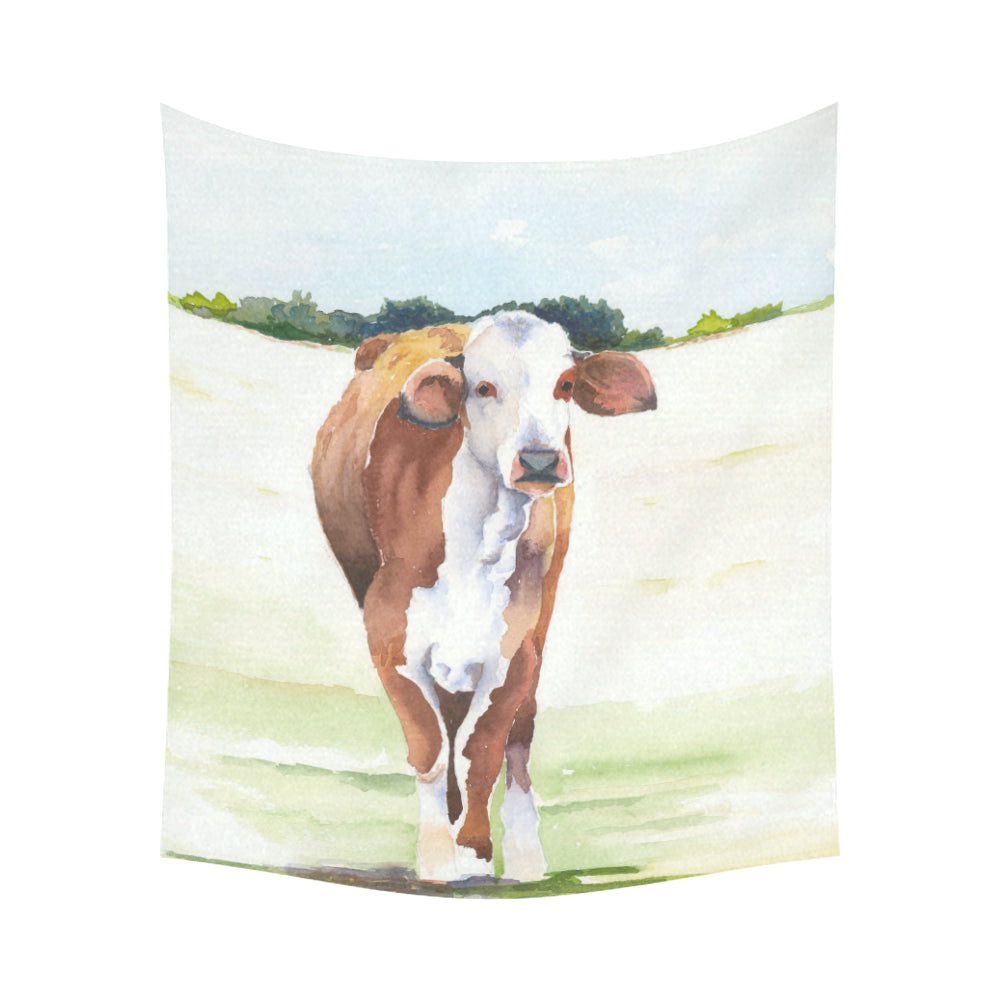 cow 13 Cotton Linen Wall Tapestry 60