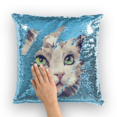 cat painting 02 Sequin Cushion Cover
