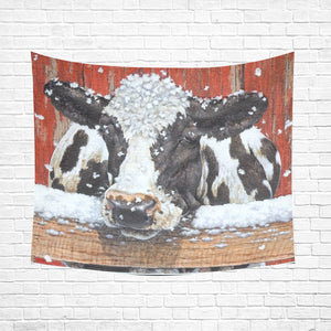 "cow 04 Cotton Linen Wall Tapestry 60""x 51"""