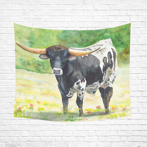 "cow 11 Cotton Linen Wall Tapestry 60""x 51"""