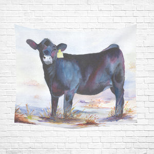 "cow 07 Cotton Linen Wall Tapestry 60""x 51"""