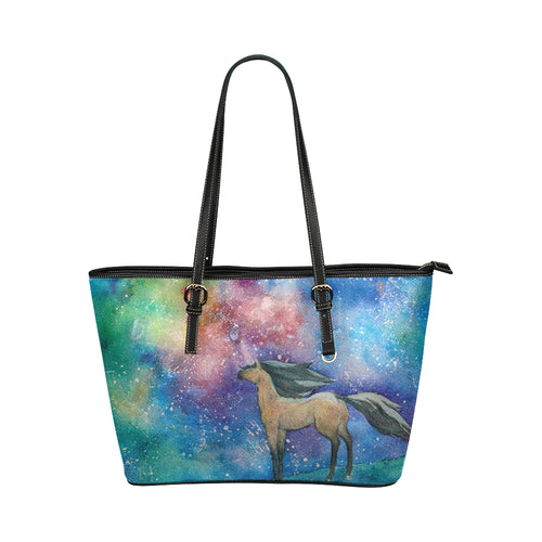 Horse 05 Leather Tote Bag/Small (Model 1651)