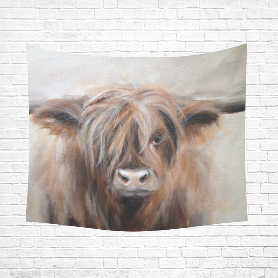 "cow 15 Cotton Linen Wall Tapestry 60""x 51"""