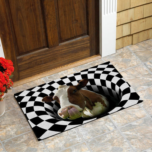 No Need To Knock... Cow Doormat Floor Mat Door Mat For Indoor Or Outdoor Use, Utility Mat For Entryway, Home Gym
