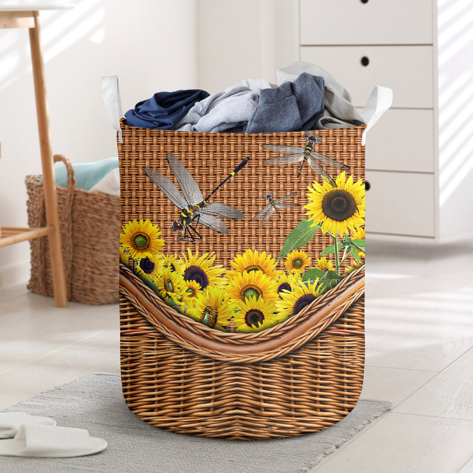 Dragonfly Sunflower Laundry Basket Funny Comfort Carry Women 3D Kitchen & Home All Over Print
