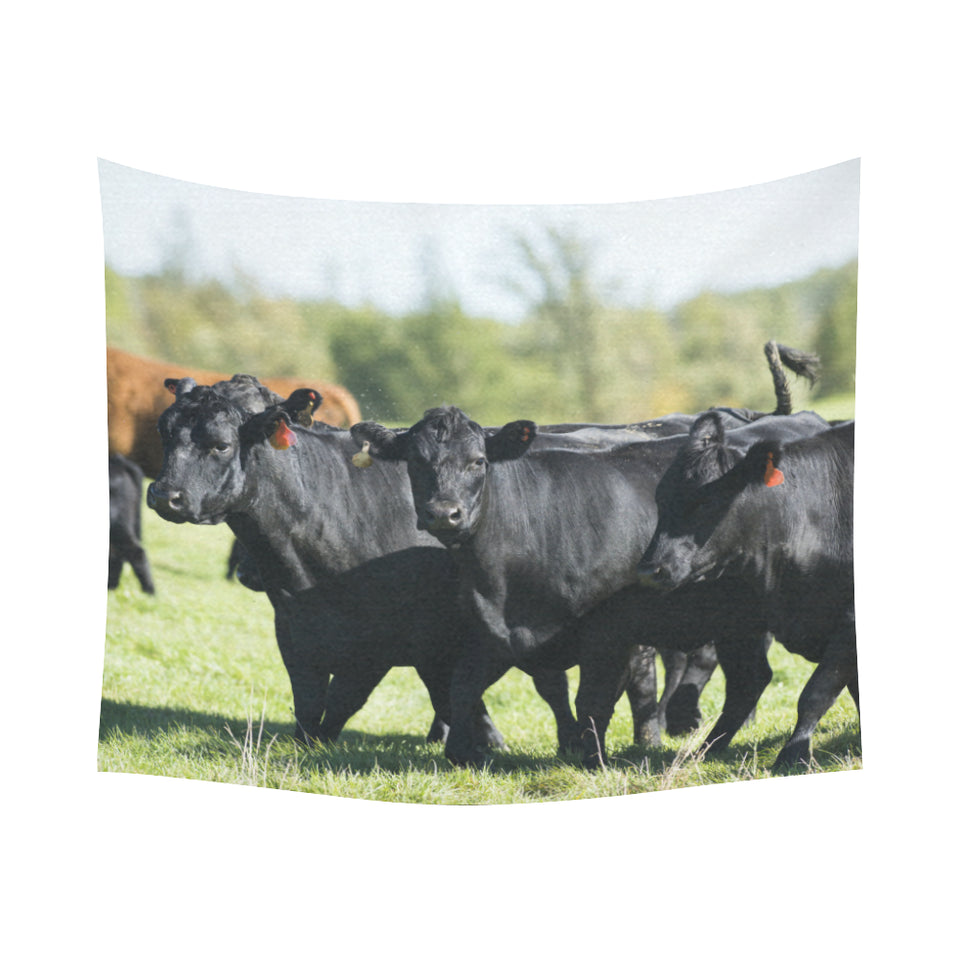 "cow 21 Cotton Linen Wall Tapestry 60""x 51"""