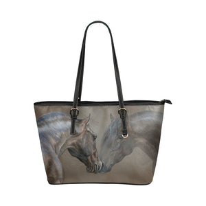 Horse 02 Leather Tote Bag/Small (Model 1651)