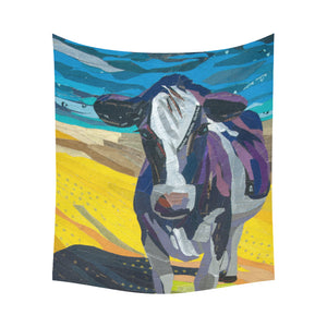 "cow 03 Cotton Linen Wall Tapestry 60""x 51"""