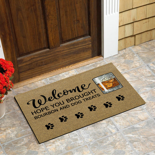 Hope You Brought Bourbon And Dog Treats Doormat Floor Mat Door Mat For Indoor Or Outdoor Use, Utility Mat For Entryway, Home Gym