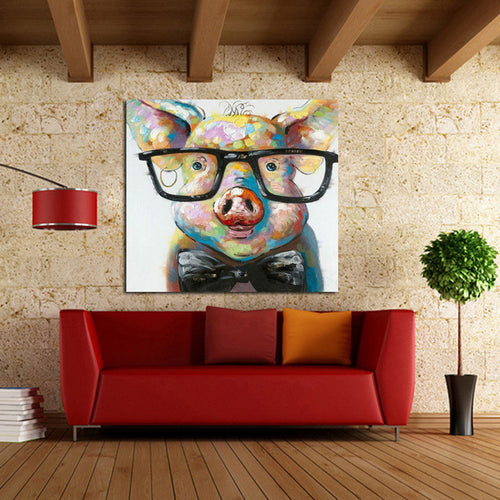 Hand Painted Modern  Pig Wearing Glassess Wall Art For Living Room Home Decor