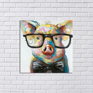 Hand Painted Modern  Pig Wearing Glassess Wall Art For Living Room Home Decor - Barnsmile.com-Barnsmile.com-shirt, tees, clothings, accessories, shoes, home decor