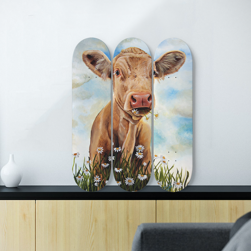 3 Skateboard Wall Art - cow 1
