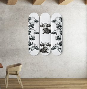 3 Skateboard Wall Art - cow 3
