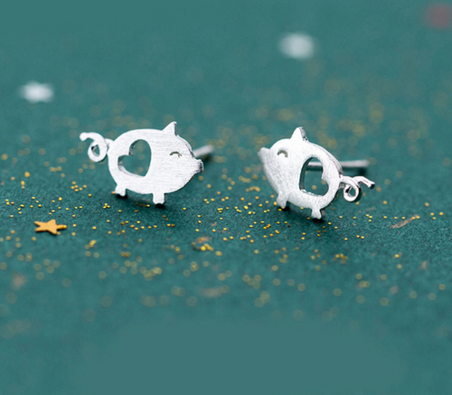 Silver Lovely Piggy Pig Earrings