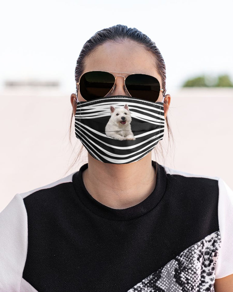 West Highland White Terrier  Face Mask Face Cover 3D Men, Women Fashion Outdoor
