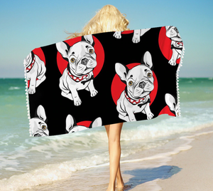 Bath Towel Bulldog For Kids Adults 150x75cm Black and Red