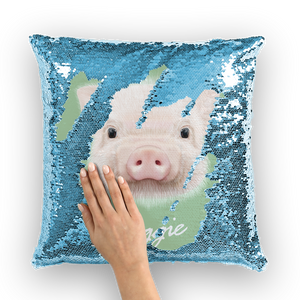 pig-03-pillows Sequin Cushion Cover