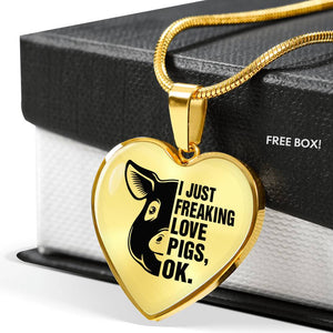 i Just freaking love pigs, ok - Necklace Gold & Silver