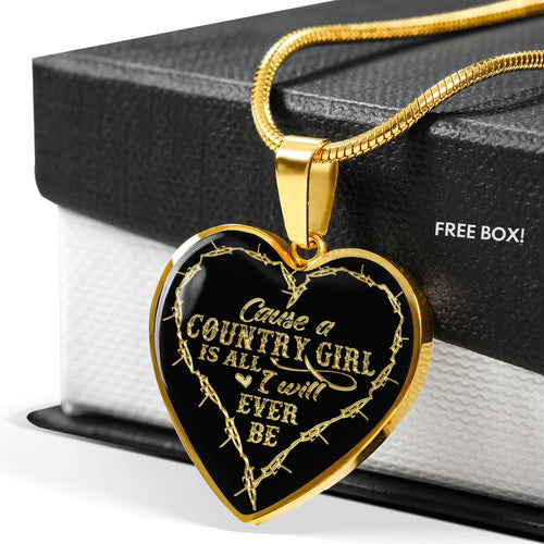 Country girl-necklace heart gold & Silver