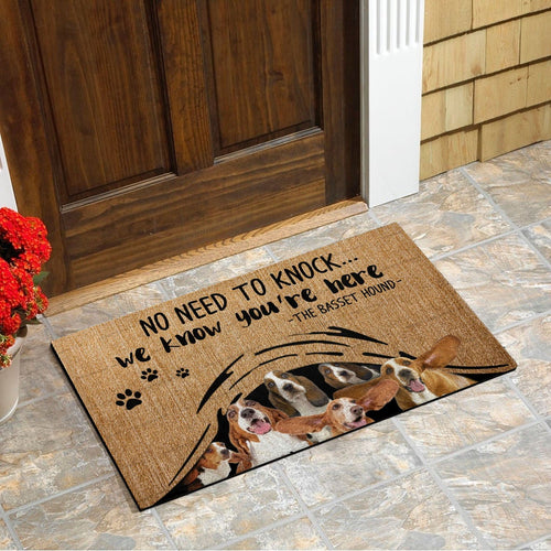 No Need To Knock... Basset Hound Doormat Floor Mat Door Mat For Indoor Or Outdoor Use, Utility Mat For Entryway, Home Gym