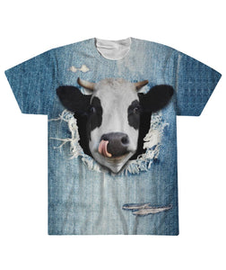 Cow 3d - jean - Sublimation Tee