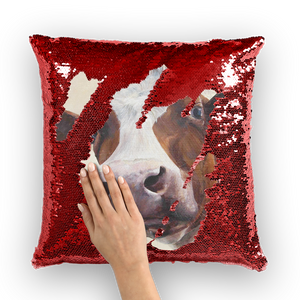 cow-03 Sequin Cushion Cover