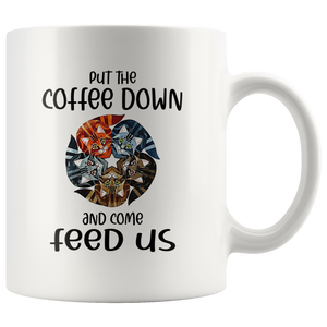 Put the coffee down and come feed us - Cats