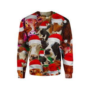 Sweatshirt for cow lovers - Merry Christmas