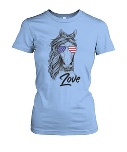 Love horse glasses American flag