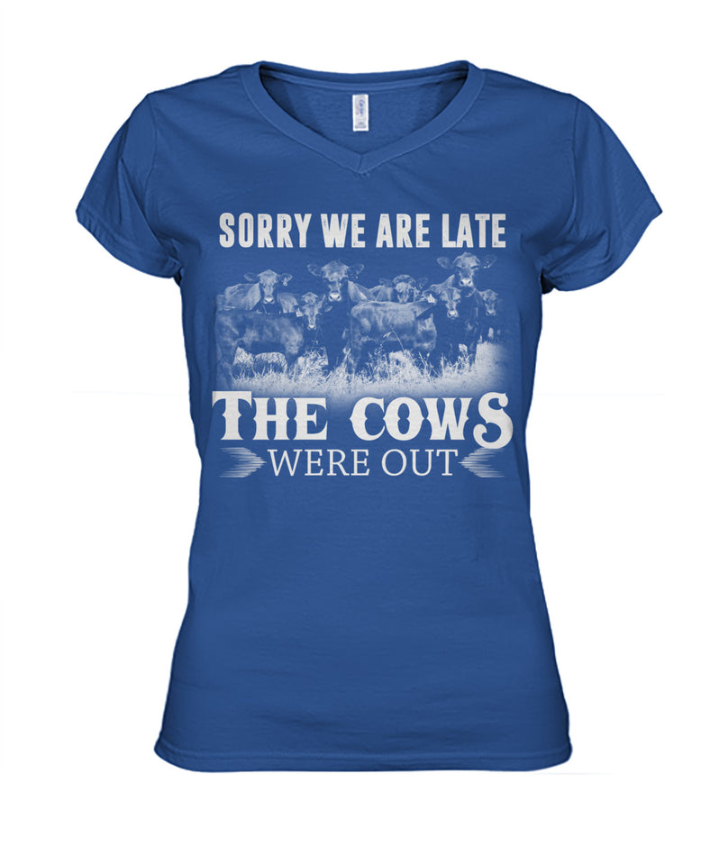 Sorry we are late the cows were out