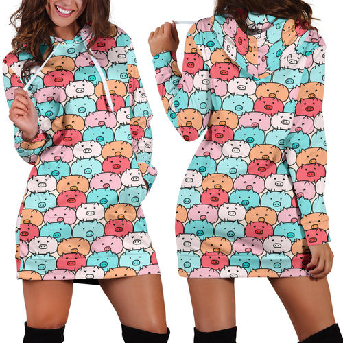 Women's Hoodie Dress - Pig 21